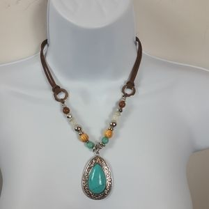 Brown Leather Beaded Turquoise Pendant Necklace